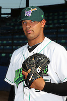 Jamestown Jammers pitcher Luis Chirinos (45) poses for a photo before a game vs. the Staten Island Yankees at Russell Diethrick Park in Jamestown Jammers, New York July 15, 2010.   Jamestown defeated Staten Island 5-1.  Photo By Mike Janes/Four Seam Images