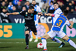 Lucas Vazquez (L) of Real Madrid battles for the ball with Unai Bustinza of CD Leganes during the Copa del Rey 2017-18 match between CD Leganes and Real Madrid at Estadio Municipal Butarque on 18 January 2018 in Leganes, Spain. Photo by Diego Gonzalez / Power Sport Images