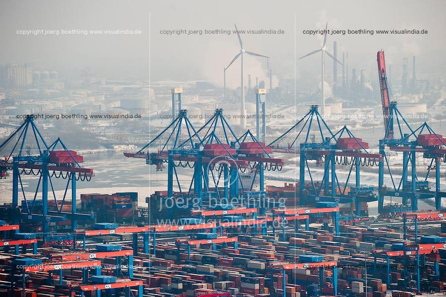 """Europa Deutschland DEU Hamburg ,  Enercon Windraeder auf dem Gelaende der Shell AG und Containerterminal CTA der HHLA  - Energie   .Europe Germany GER Hamburg Enercon windmill at Shell AG and  Container terminal CTA in harbour    [ copyright (c) Joerg Boethling / agenda , Veroeffentlichung nur gegen Honorar und Belegexemplar an / publication only with royalties and copy to:  agenda PG   Rothestr. 66   Germany D-22765 Hamburg   ph. ++49 40 391 907 14   e-mail: boethling@agenda-fototext.de   www.agenda-fototext.de   Bank: Hamburger Sparkasse  BLZ 200 505 50  Kto. 1281 120 178   IBAN: DE96 2005 0550 1281 1201 78   BIC: """"HASPDEHH"""" ,  WEITERE MOTIVE ZU DIESEM THEMA SIND VORHANDEN!! MORE PICTURES ON THIS SUBJECT AVAILABLE!! ] [#0,26,121#]"""
