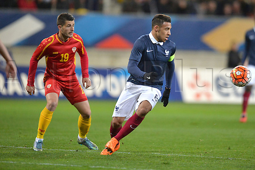 28.03.2016. Stade LeMans,  Le Mans, France, U-21 2017 Euros qualification. France versus Macedonia.   CORENTIN TOLISSO covered by BESIR DEMIRI