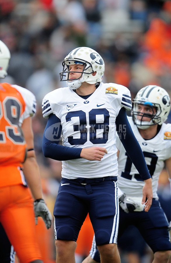 Dec. 18, 2010; Albuquerque, NM, USA; BYU Cougars kicker (38) Mitch Payne against the UTEP Miners in the 2010 New Mexico Bowl at University Stadium. BYU defeated UTEP 52-24. Mandatory Credit: Mark J. Rebilas-