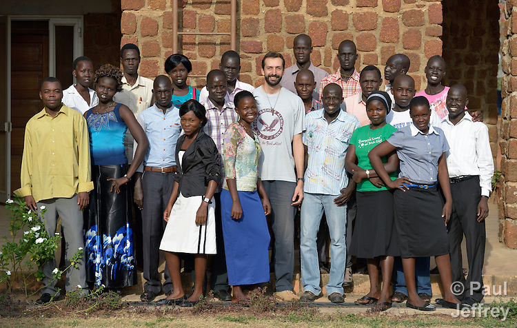 Students at the Catholic Health Training Institute (CHTI) in Wau, South Sudan. Run by Solidarity with South Sudan, an international network of Catholic organizations supporting the development of the world's newest country, the CHTI trains nurses and midwives from throughout the country. In the middle of the group is Brother Paulo Rizzetto, an Italian physician who is a Comboni missionary and vice principal of the institute.
