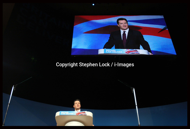 Chancellor George Osborne gives speech  at the Conservative Party Conference hotel in Birmingham, Monday, 8th October 2012. Photo by: Stephen Lock / i-Images