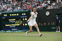 Magdalena Rybarikova (SVK) during her match against Cori Gauff (USA)  in their Ladies' Singles Second Round match<br /> <br /> <br /> Photographer Rob Newell/CameraSport<br /> <br /> Wimbledon Lawn Tennis Championships - Day 3 - Wednesday 3rd July 2019 -  All England Lawn Tennis and Croquet Club - Wimbledon - London - England<br /> <br /> World Copyright © 2019 CameraSport. All rights reserved. 43 Linden Ave. Countesthorpe. Leicester. England. LE8 5PG - Tel: +44 (0) 116 277 4147 - admin@camerasport.com - www.camerasport.com
