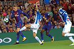 League Santander 2017/2018. Game: 03.<br /> FC Barcelona vs RCD Espanyol: 5-0.<br /> Gerard Deulofeu vs Aaron Martin.