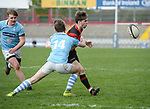 Evan O Sullivan of Garryowen  in action against X of Ennis during their U-18 Munster Club Final at Thomond Park. Photograph by John Kelly.