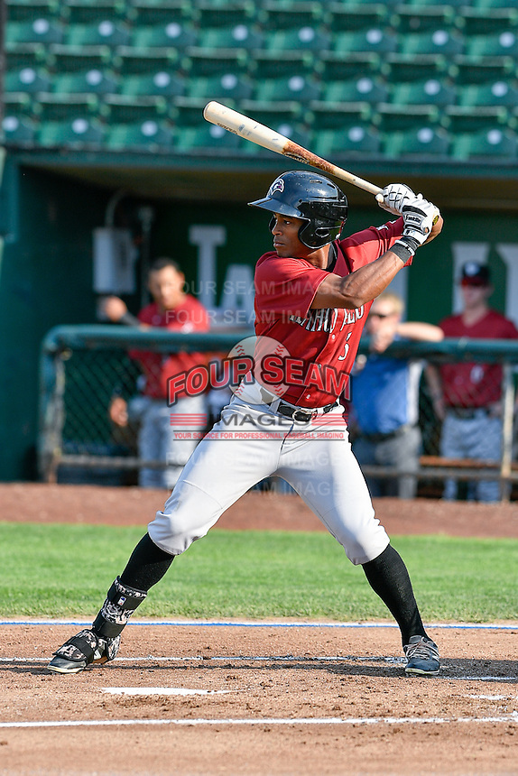 Nick Heath (3) of the Idaho Falls Chukars at bat against the Ogden Raptors in Pioneer League action at Lindquist Field on September 3, 2016 in Ogden, Utah. The Chukars defeated the Raptors 3-0. (Stephen Smith/Four Seam Images)