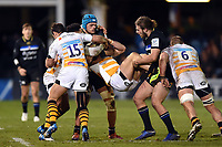 Michele Campagnaro of Wasps is tackled. Heineken Champions Cup match, between Bath Rugby and Wasps on January 12, 2019 at the Recreation Ground in Bath, England. Photo by: Patrick Khachfe / Onside Images