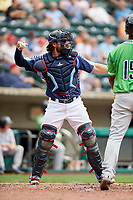 Columbus Clippers catcher Eric Haase (13) throws back to the pitcher during a game against the Gwinnett Stripers on May 17, 2018 at Huntington Park in Columbus, Ohio.  Gwinnett defeated Columbus 6-0.  (Mike Janes/Four Seam Images)