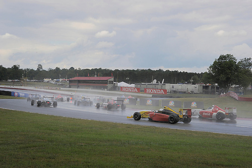 11-14 August, 2016, Lexington, Ohio USA<br /> F4 cars heading for a rolling start on the rain soaked track<br /> ©2016 Dan R. Boyd<br /> LAT Photo USA