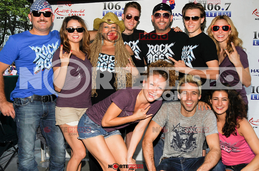 "NEW YORK - AUGUST 16: Cast of ""Rock of Ages"" backstage during 106.7 Lite FM Presents Broadway in Bryant Park on August 16, 2012 in New York City. (Photo by MPI81/MediaPunchInc)"