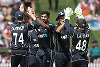 The Blackcaps celebrate the wicket of England captain Eoin Morgan. New Zealand Blackcaps v England. One Day International Cricket. Seddon Park, Hamilton, New Zealand on Sunday 25 February 2018.<br /> <br /> Copyright photo: &copy; Bruce Lim / www.photosport.nz