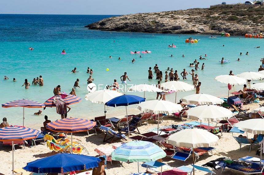 Isola di Lampedusa. Sicilia.  .La spiaggia del Lido Azzuro di baia Turchese..Foto Fabrizio Villa