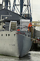 World War One Battle of Jutland veteran light cruiser, the 3,700-ton HMS Caroline is  moved from its current location in Alexandra Dock to Harland and Wolff Heavy Industries' Belfast Dock for a scheduled hull inspection and repair, Friday, October 28, 2016. Two tug boats towed the ship from its moorings to the Belfast Dock at the mouth of the harbour. This is her first docking for almost three decades and a maritime event to be matched only by her return journey anticipated to be before Christmas. -HMS Caroline is now a proud monument to the 10,000 Irishmen who lost their lives at sea between 1914 and 1918. The £15m restoration project was funded by the Heritage Lottery Fund with support from Department for the Economy and Tourism Northern Ireland. Photo/Paul McErlane