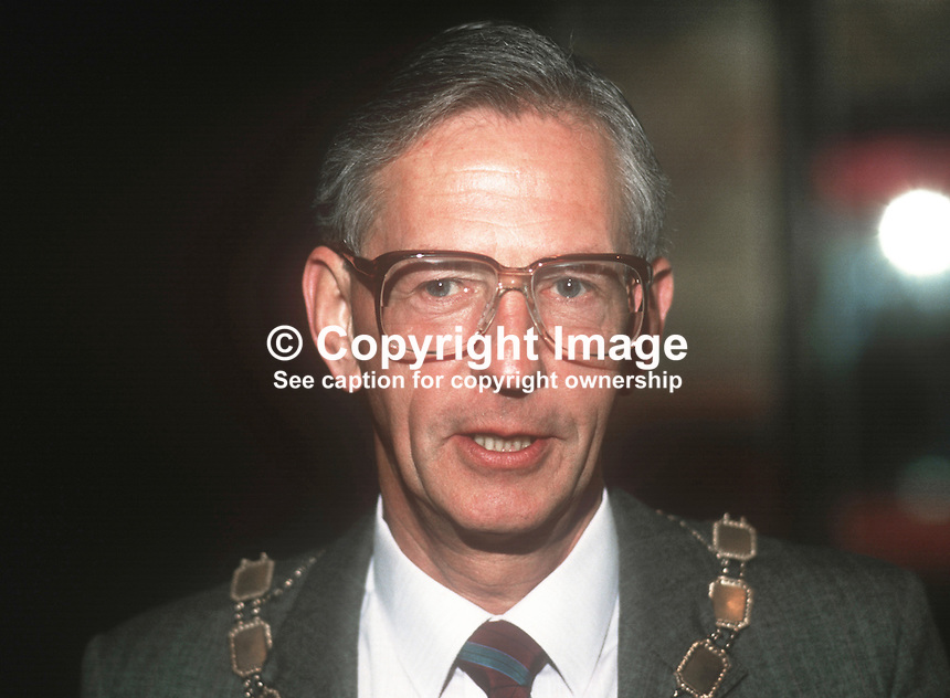 Ron Gibson, president, N Ireland Chamber of Commerce &amp; Industry, April 1986, 19860409RG2<br /> <br /> Copyright Image from Victor Patterson, 54 Dorchester Park, <br /> Belfast, UK, BT9 6RJ<br /> <br /> t1: +44 28 9066 1296 (from Rep of Ireland 048 9066 1296)<br /> t2: +44 28 9002 2446 (from Rep of Ireland 048 9002 2446)<br /> m: +44 7802 353836<br /> <br /> e1: victorpatterson@me.com<br /> e2: victorpatterson@gmail.com<br /> <br /> www.victorpatterson.com<br /> <br /> Please see my Terms and Conditions of Use at VICTORPATTERSON.COM. It is IMPORTANT that you familiarise yourself with them.<br /> <br /> Images used on the Internet must be visibly watermarked i.e. &copy;VICTORPATTERSON.COM within the body of the image and copyright metadata must not be deleted. Images used on the Internet have a size restriction of 4kbs and are chargeable at the then current NUJ rates.<br /> <br /> This image is only available for the use of the download recipient i.e. television station, newspaper, magazine, book publisher, etc, and must not be passed on to any third party. It is also downloaded on condition that each and every usage is notified within 7 days to victorpatterson@me.com<br /> <br /> The right of Victor Patterson to be identified as the author is asserted in accordance with The Copyright Designs And Patents Act (1988).