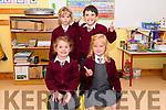 Scoil an Ghleanna pupils (front) Grace Ní Bheaglaoi and Harmony Ní Dheorain with (back) Natalia Kougl and Adam Kougl on their first day at school.