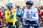 Race leader Yellow Jersey Luis Leon Sanchez (ESP) Astana Pro Team chats with White Jersey holder Marc Soler (ESP) Movistar Team before the start of Stage 5 running 165km from Salon-de-Provence to Sisteron, France. 8th March 2018.<br /> Picture: ASO/Alex Broadway | Cyclefile<br /> <br /> <br /> All photos usage must carry mandatory copyright credit (&copy; Cyclefile | ASO/Alex Broadway)