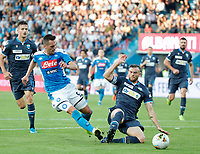 27th October 2019; Stadio Paolo Mazza, Ferrara, Emilia Romagna, Italy; Serie A Football, SPAL versus Napoli; Arkadiusz Milik of Napoli challenged for the ball by Francesco Vicari of Spal  - Editorial Use