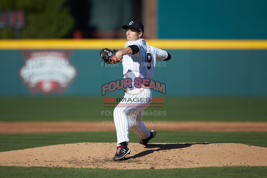 South Carolina Gamecocks starting pitcher Brett Kerry in action against the Holy Cross Crusaders at Founders Park on February 15, 2020 in Columbia, South Carolina. The Gamecocks defeated the Crusaders 9-4.  (Brian Westerholt/Four Seam Images)