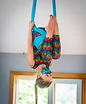 HARWINTON , CT-080620JS12—Leah Reeves, 10, of Terryville, works an her aerial sling hammock routine during the Thrive Movement Studio's circus camp Thursday at their studio in Harwinton. <br />  Jim Shannon Republican-American