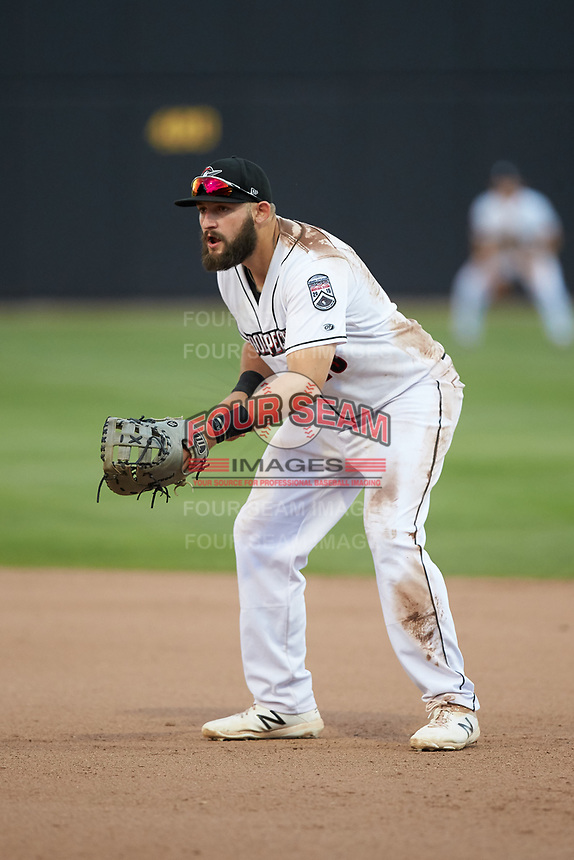 Fayetteville Woodpeckers first baseman Colton Shaver (35) on defense against the Carolina Mudcats at SEGRA Stadium on May 18, 2019 in Fayetteville, North Carolina. The Mudcats defeated the Woodpeckers 6-4. (Brian Westerholt/Four Seam Images)