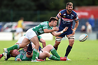 James Elliott of Newcastle Falcons passes the ball. Pre-season friendly match, between Doncaster Knights and Newcastle Falcons on August 25, 2018 at Castle Park in Doncaster, England. Photo by: Patrick Khachfe / Onside Images