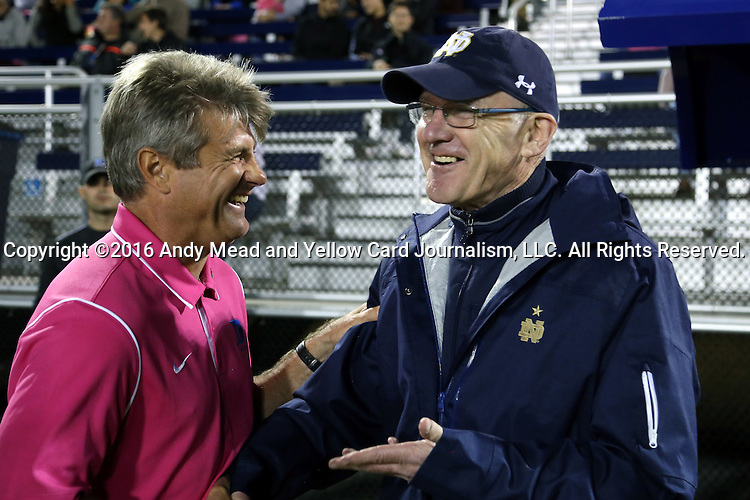 21 October 2016: Notre Dame head coach Bobby Clark (SCO) (right) and Duke head coach John Kerr (left). The Duke University Blue Devils hosted the University of Notre Dame Fighting Irish at Koskinen Stadium in Durham, North Carolina in a 2016 NCAA Division I Men's Soccer match. Duke won the game 2-1 in two overtimes.