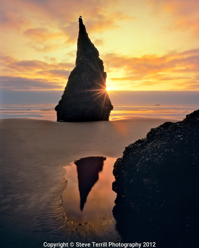 Rock pinnacle at sunset on Bandon Beach in Coos County, Oregon