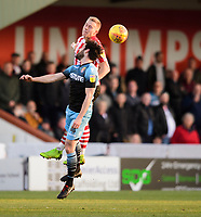Lincoln City's Danny Rowe vies for possession with Stevenage's Michael Timlin<br /> <br /> Photographer Chris Vaughan/CameraSport<br /> <br /> The EFL Sky Bet League Two - Lincoln City v Stevenage - Saturday 16th February 2019 - Sincil Bank - Lincoln<br /> <br /> World Copyright © 2019 CameraSport. All rights reserved. 43 Linden Ave. Countesthorpe. Leicester. England. LE8 5PG - Tel: +44 (0) 116 277 4147 - admin@camerasport.com - www.camerasport.com