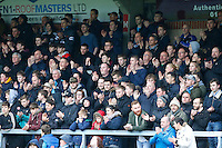 Wycombe supporters join in applause on 5 minutes in memory of Paul McCarthy who recently passed away during the Sky Bet League 2 match between Wycombe Wanderers and Crawley Town at Adams Park, High Wycombe, England on 25 February 2017. Photo by PRiME Media Images.