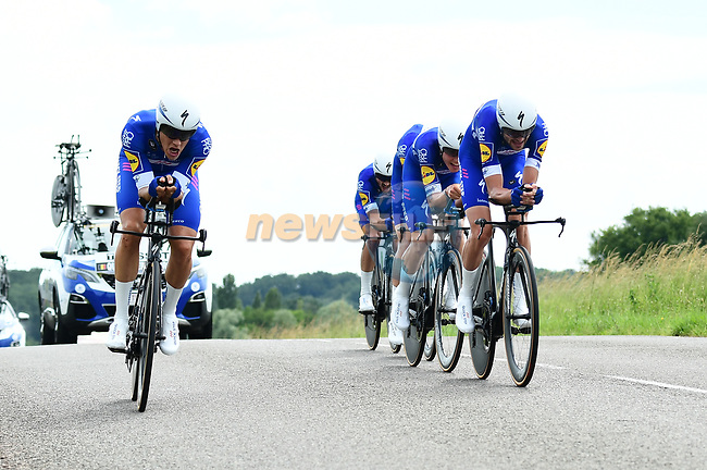 Quick-Step Foors in action during Stage 3 of the 2018 Criterium du Dauphine 2018 a Team Time Trial running 35km from Pont de Vaux to Louhans Chateaurenaud, France. 6th June 2018.<br /> Picture: ASO/Alex Broadway | Cyclefile<br /> <br /> <br /> All photos usage must carry mandatory copyright credit (© Cyclefile | ASO/Alex Broadway)