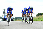 Quick-Step Foors in action during Stage 3 of the 2018 Criterium du Dauphine 2018 a Team Time Trial running 35km from Pont de Vaux to Louhans Chateaurenaud, France. 6th June 2018.<br /> Picture: ASO/Alex Broadway | Cyclefile<br /> <br /> <br /> All photos usage must carry mandatory copyright credit (&copy; Cyclefile | ASO/Alex Broadway)