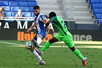 5th July 2020; RCDE Stadium, Barcelona, Catalonia, Spain; La Liga Football, Real Club Deportiu Espanyol de Barcelona versus Leganes;  Didac and Roger Assalé of Leganes challenge for the loose ball