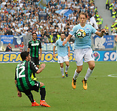 1st October 2017, Stadio Olimpico, Rome, Italy; Serie A football, Lazio versus Sassuolo; Lucas Leiva in action as he brings down a high ball