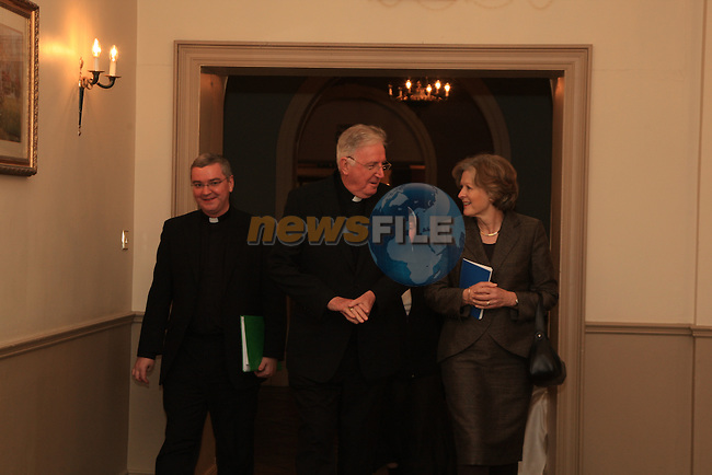 Cardinal Cormac Murphy O'Connor accompanies by Mons. Mark O'Toole and Professor Sheila Hollins professor of psychiatry at St George's, University of London, arrive  in the West Court Hotel in Drogheda as part of the Process of the Visatation to allow the religious and lay people in the Armagh Archdiocese express there views to the cardinal..Picture Fran Caffrey/www.newsfile.ie.