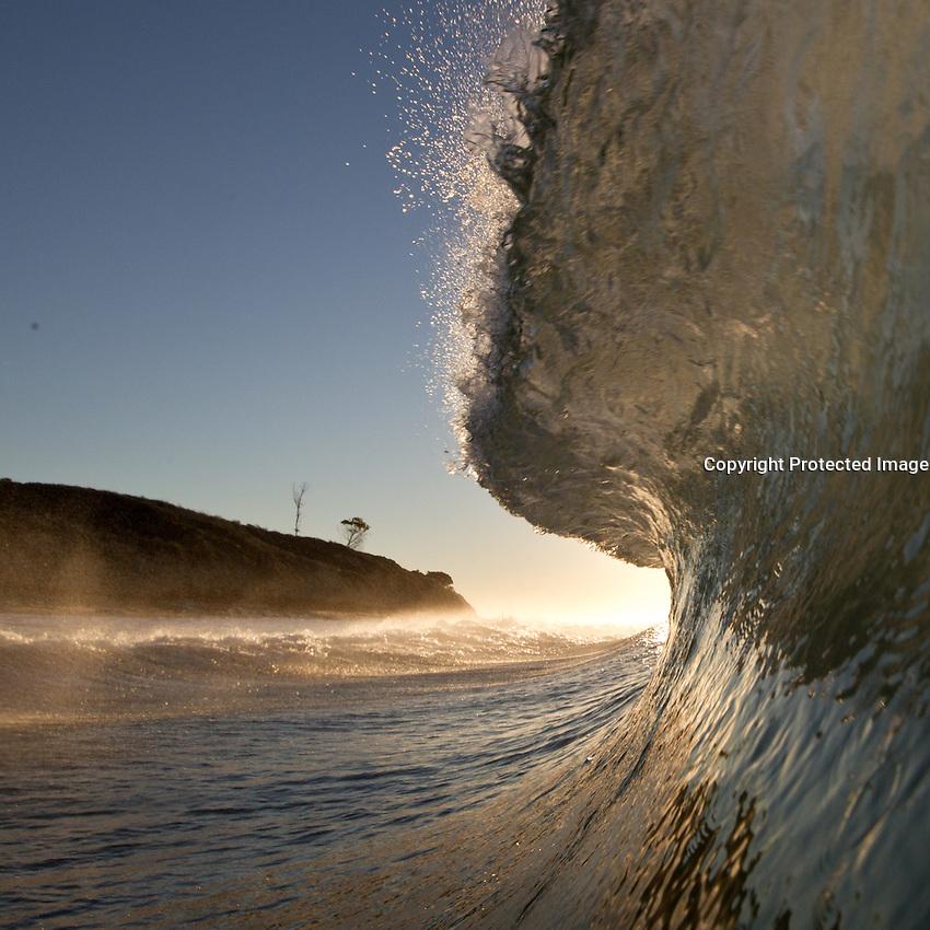 A wave breaks along the gaviota coast of Santa Barbara Coutny, California