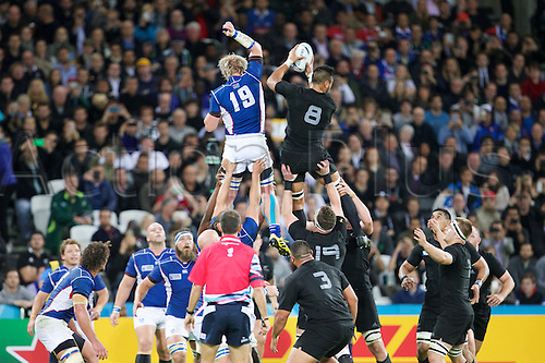 24.09.2015. Olympic Stadium, London, England. Rugby World Cup. New Zealand versus Namibia. New Zealand All Black number 8 Victor Vito wins a line out.