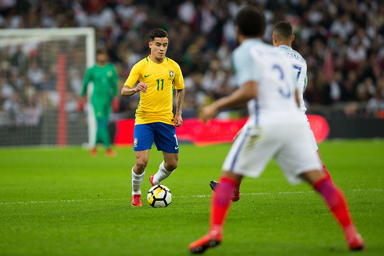 Brazil&rsquo;s Philippe Coutinho in action <br /> <br /> Photographer Craig Mercer/CameraSport<br /> <br /> The Bobby Moore Fund International - England v Brazil - Tuesday 14th November 2017 Wembley Stadium - London  <br /> <br /> World Copyright &copy; 2017 CameraSport. All rights reserved. 43 Linden Ave. Countesthorpe. Leicester. England. LE8 5PG - Tel: +44 (0) 116 277 4147 - admin@camerasport.com - www.camerasport.com