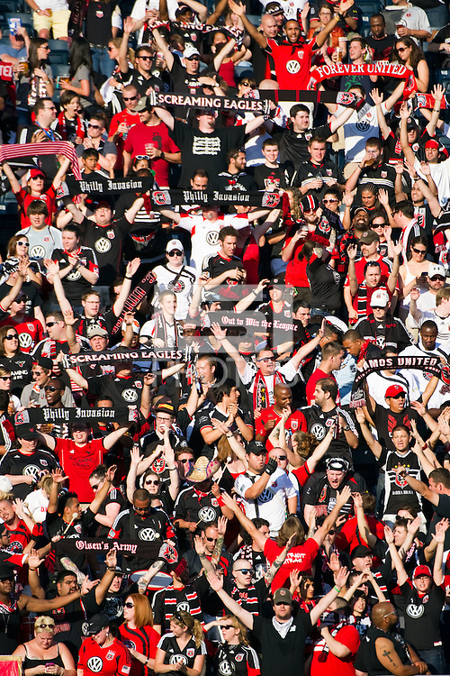 DC United fans. DC United defeated Philadelphia Union 1-0 during a Major League Soccer (MLS) match at PPL Park in Chester, PA, on June 16, 2012.