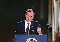 ***FILE PHOTO*** George H.W. Bush Has Passed Away<br /> United States President George H.W. Bush holds a press conference in the East Room of the White House in Washington, DC on June 4, 1992.  In his opening remarks the President discussed the budget deficit and advocated for a balanced budget amendment to the US Constitution.<br /> CAP/MPI/RS<br /> &copy;RS/MPI/Capital Pictures