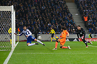 Liverpool's Mohamed Salah scores his side's second goal <br /> <br /> Photographer Craig Mercer/CameraSport<br /> <br /> UEFA Champions League Round of 16 First Leg - FC Porto v Liverpool - Wednesday 14th February 201 - Estadio do Dragao - Porto<br />  <br /> World Copyright &copy; 2018 CameraSport. All rights reserved. 43 Linden Ave. Countesthorpe. Leicester. England. LE8 5PG - Tel: +44 (0) 116 277 4147 - admin@camerasport.com - www.camerasport.com