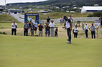 Andy Sullivan (ENG) sinks his birdie putt on the 18th green during Saturday's Round 3 of the 2018 Dubai Duty Free Irish Open, held at Ballyliffin Golf Club, Ireland. 7th July 2018.<br /> Picture: Eoin Clarke | Golffile<br /> <br /> <br /> All photos usage must carry mandatory copyright credit (&copy; Golffile | Eoin Clarke)