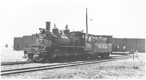 3/4 fireman's-side view of D&amp;RGW #361 on roundhouse lead.<br /> D&amp;RGW  Gunnison, CO  Taken by Horan, John F. - 1950-1959