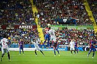 VALENCIA, SPAIN - SEPTEMBER 11: Deyverson and Krychowiak during BBVA LEAGUE match between Levante U.D. And Sevilla C.F. at Ciudad de Valencia Stadium on September 11, 2015 in Valencia, Spain