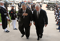 Washington, DC - October 1, 2007 -- United States Secretary of Defense Robert M. Gates (right) escorts President Jalal Talabani  of Iraq through a cordon of honor guards and into the Pentagon, Monday, October 1, 2007.  <br /> CAP/MPI/CNP/RS<br /> &copy;RS/CNP/MPI/Capital Pictures