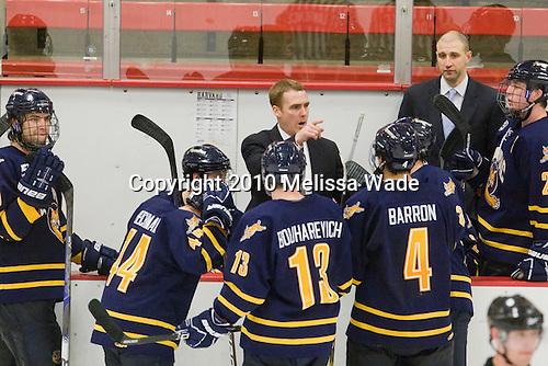 Rand Pecknold (Quinnipiac - Head Coach) - The visiting Quinnipiac University Bobcats defeated the Harvard University Crimson 3-1 on Wednesday, December 8, 2010, at Bright Hockey Center in Cambridge, Massachusetts.
