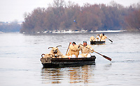Buso's crossing the Danube  at the Busojaras Spring  festival 2010 Mohacs Hungary - Stock photos