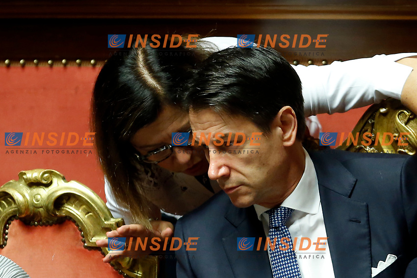 Paola De Micheli and Giuseppe Conte<br /> Rome September 10th 2019. Senate. Discussion and Trust vote at the new Government. <br /> Foto  Samantha Zucchi Insidefoto