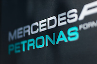 March 14, 2014: Signage at the Mercedes AMG Petronas F1 Team garage at the 2014 Australian Formula One Grand Prix at Albert Park, Melbourne, Australia. Photo Sydney Low.