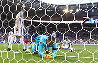 Goalkeeper Tom Heaton (Burnley) of England & his England defence are left floored by Djibril Sidibe (Monaco) of France goal making it 2 1 during the International Friendly match between France and England at Stade de France, Paris, France on 13 June 2017. Photo by David Horn/PRiME Media Images.